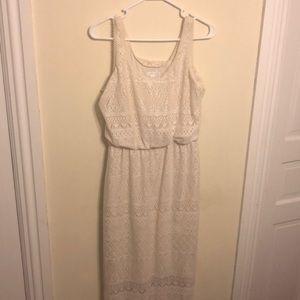 Cream lace floor length dress